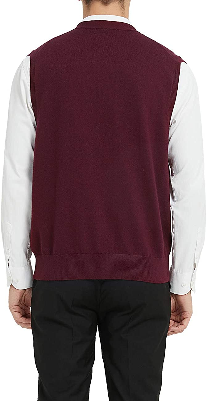 Kallspin Mens Cashmere Blended Sweater Vest Relaxed Fit V-Neck Sleeveless Cardigan with Front Button