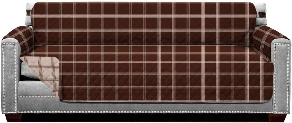 Sofa Shield Original Patent Pending Reversible X-Large Oversized Sofa Protector, Many Colors, Seat Width to 78 Inch, Furniture Slipcover, 2 Inch Strap, Couch Slip Cover for Pets, Plaid Chocolate Beige