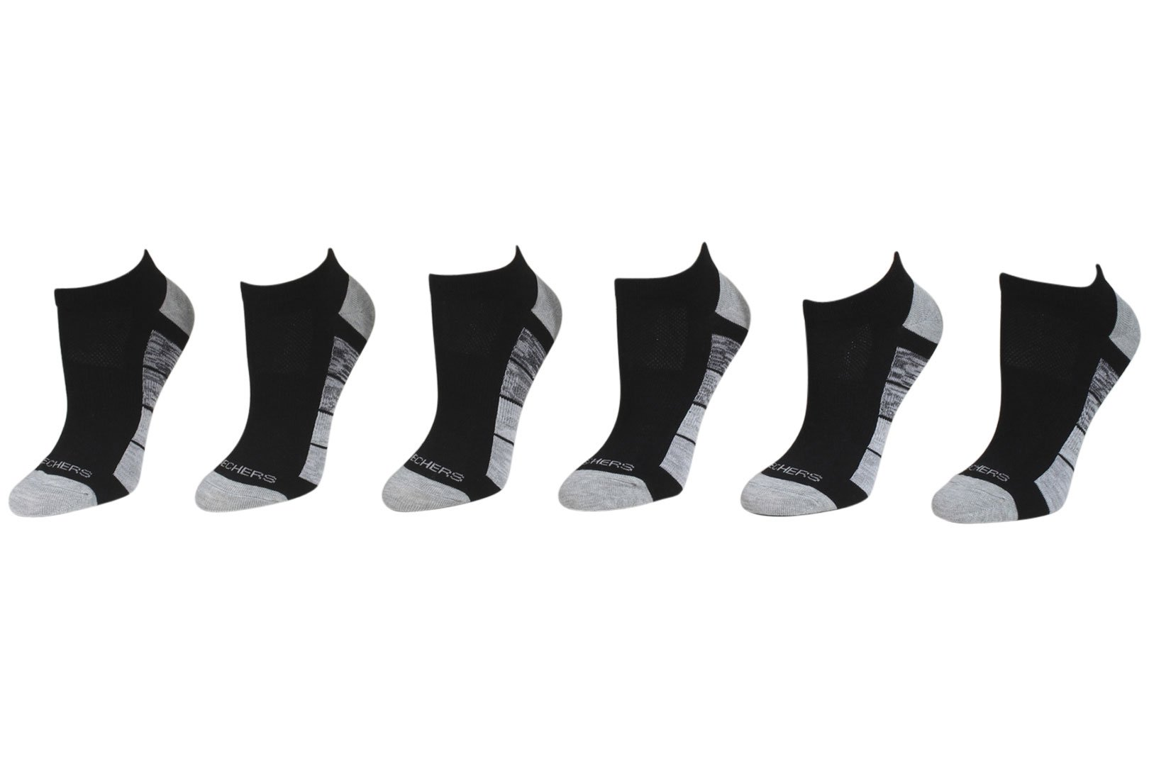 Skechers Active 6-Pairs Black/Gray Arch Support Low Cut Socks Sz 9-11 Fits 5-9.5