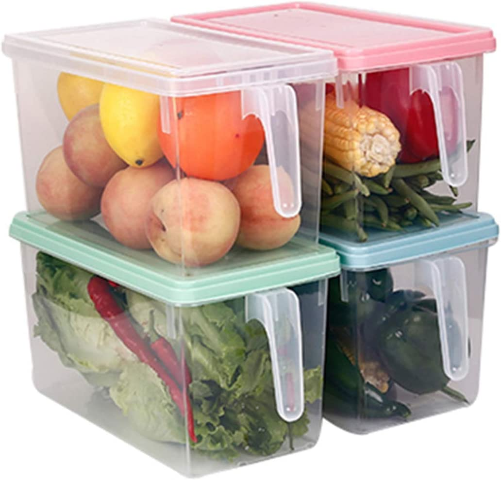 STARSLIFE Kitchen Food Storage Containers, Refrigerator Classified Organizer Case with Lid and Handle, Plastic Stackable Keeper, Reusable Boxes for Fridge, Pantry Cabinet, Shelves, Home (Pack of 4)