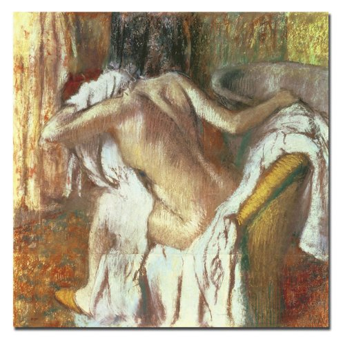 Trademark Fine Art Woman Drying Herself 1888-92 by Edgar Degas Canvas Wall Art, 24x24-Inch