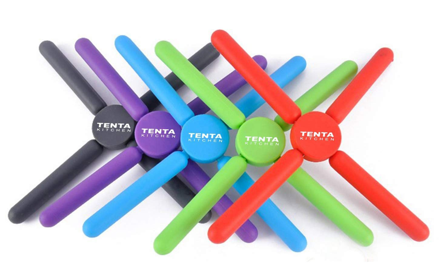 TENTA Kitchen Utility Foldable Silicone Trivets, Expandable/Collapsible(Pack of 5)