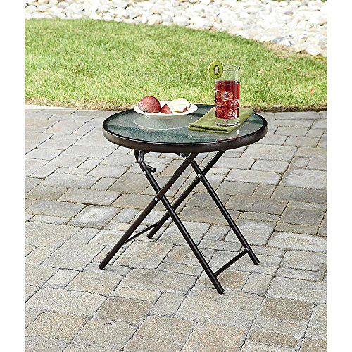 Round Side Table Patio Outdoor Space Folding Porch Deck Garden Poolside Furniture Durable Steel Versatile Elegance