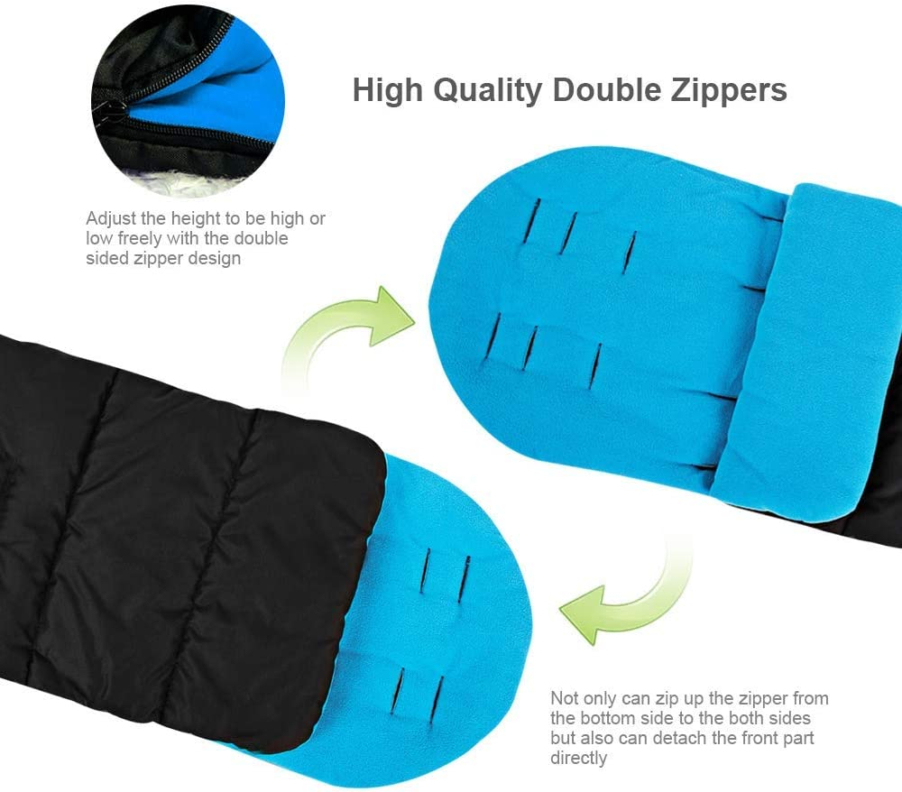 WIKEA Universal 3 in 1 Baby Stroller Sleeping Bag Annex Mat Footmuff Cover Stroller Bunting Bag Waterproof Windproof Cold-Proof Detachable Black