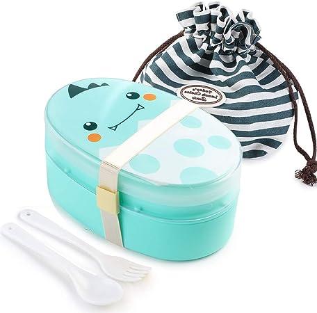 JoGoi Fiambrera Infantil Bento Lunchbox Niños Caja de Almuerzo de Plástico Verde con Bolsa y Cubiertos (Tenedor y Cuchara) Ideal para Almuerzo y Bocadillos 15.5 * 10 * 8cm 700ml: Amazon.es: Hogar