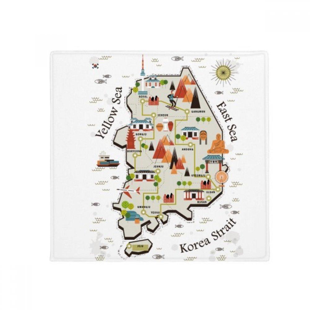 DIYthinker South Korea Landmarks Travel Map Anti-Slip Floor Pet Mat Square Home Kitchen Door 80Cm Gift