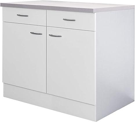 Flex Well Unna Kitchen Cabinet 2 Doors 2 Drawers Width 100 Cm White Amazon De Home Kitchen