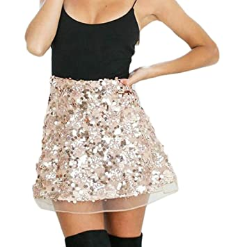 6d5e42ceef Etecredpow Womens High Rise Flared Mini Club Summer Chic Sexy Sequins Skirts  Rose Gold XS