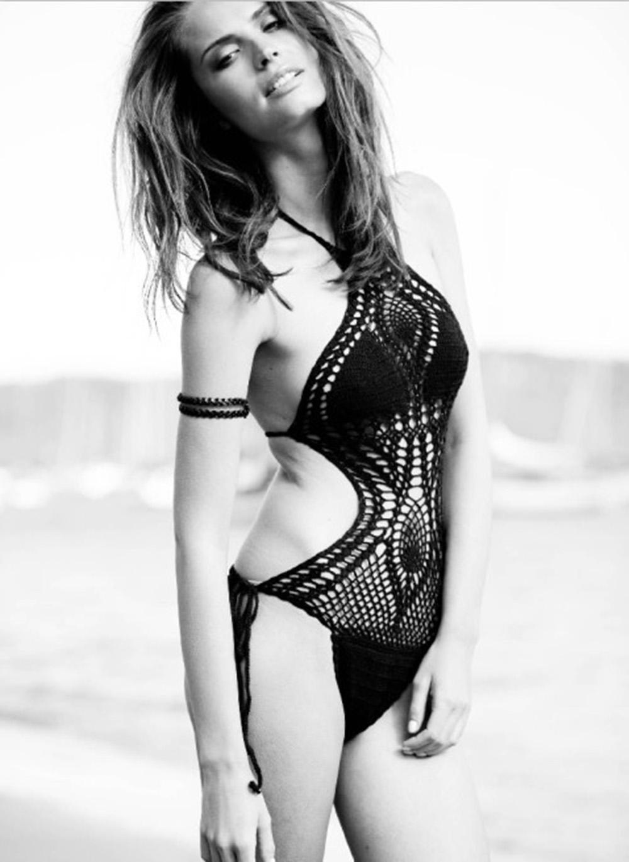 BUSL Europäische und amerikanische handgemachte Wolle Strickn hohlen Bikini-Badeanzug weibliche siamesische