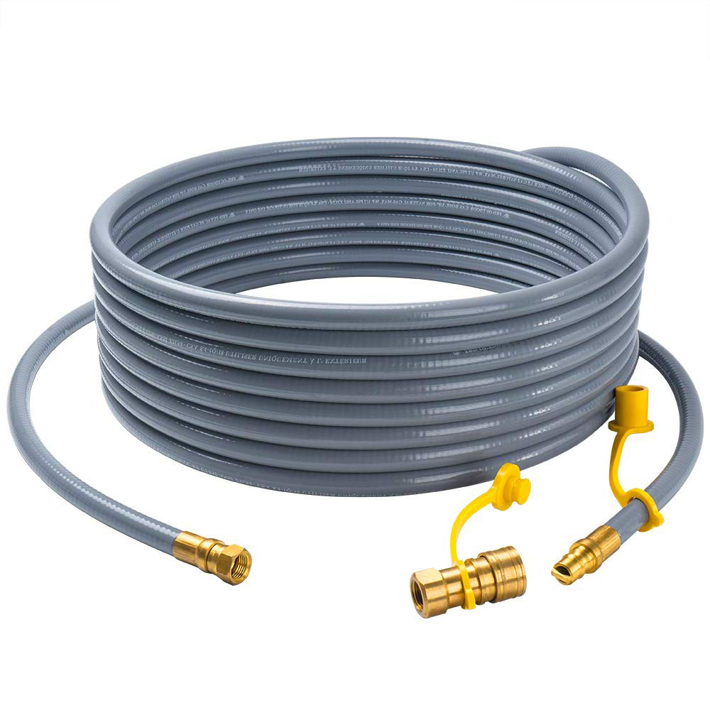 "GASPRO 24 feet Natural Gas Hose with 3/8"" Male Flare Quick Connect/Disconnect for BBQ Gas Grill- 50,000 BTU Fits Low Pressure Appliance with 3/8"" Female Flare Fitting-CSA Certified"