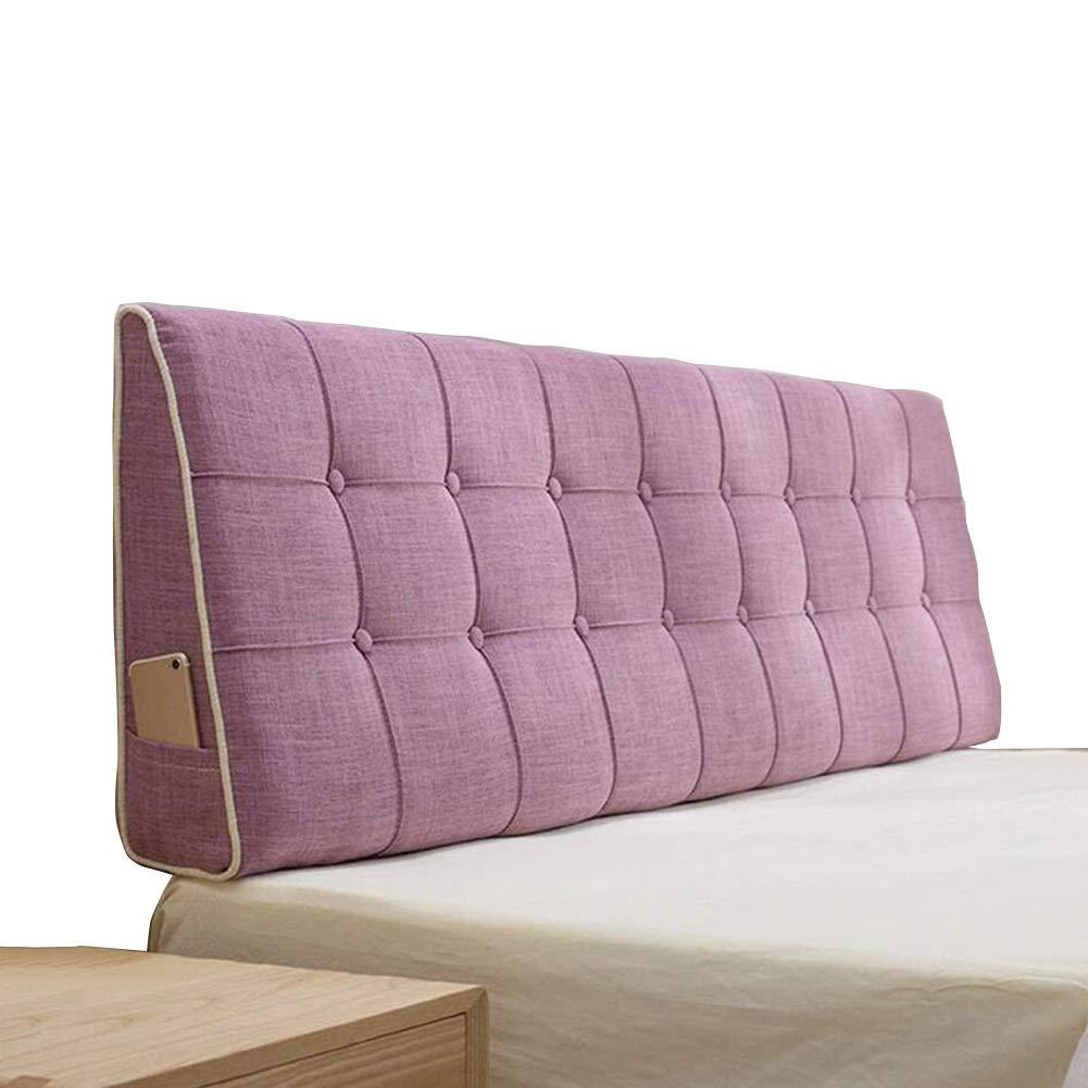 LIANGLIANG クッションベッドの背もたれ ダブル人物エクストララグ三角枕ベッド背もたれクッション洗える亜麻布ホームベッドルーム、4色、7サイズ (色 : Pink, サイズ さいず : 120x50x15cm) 120x50x15cm Pink B07KJYY5X7