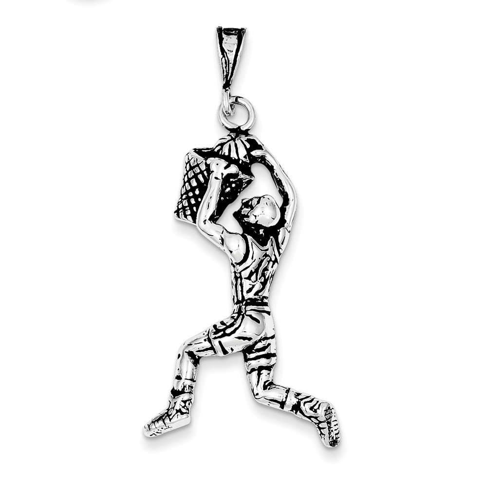 K/&C Sterling Silver Antiqued Basketball Player Charm with a Carded Box Chain Necklace 18 inch