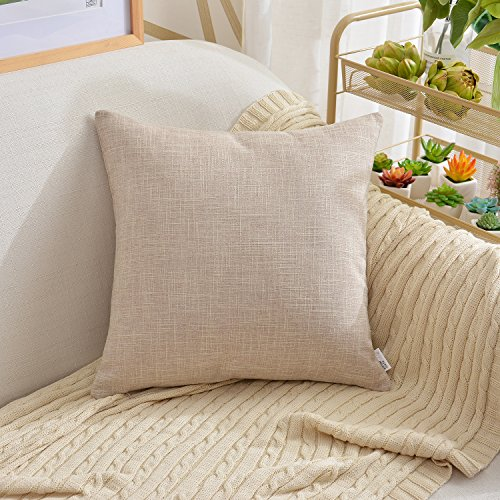 (NATUS WEAVER 2 Tones Woven Throw Pillow Cushion Cover Soft Faux Linen Home Decorative Hand Made Pillowcase for Travel Use, 24