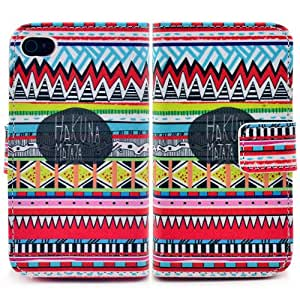 Bfun Packing Colorful Tribal Tribe Pattern wallet Leather TPU Cover Case for iPhone 4 4G 4S AT&T Verizon Sprint