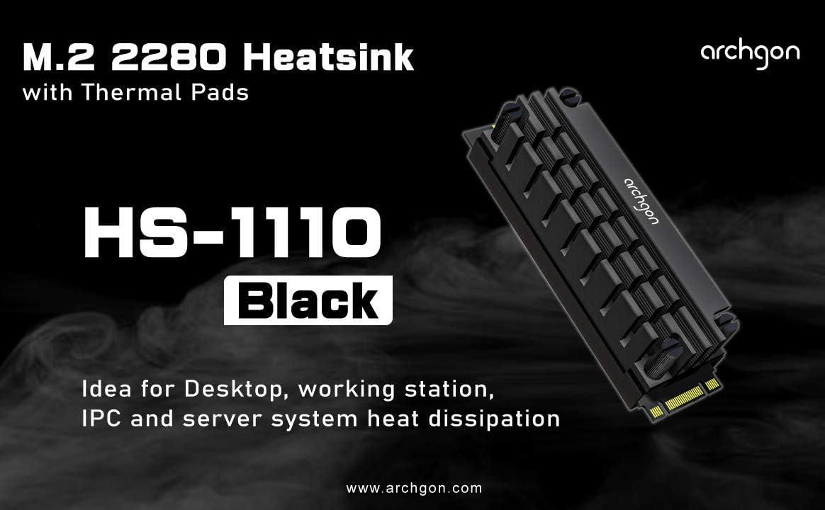 Noir archgon HS-0130 Radiateur pour Refroidisseur NVMe//SATA M.2 SSD 2280 PCIe Passif Aluminium Montage par Clip /à Ressort Hauteur 25 mm Coussin Thermique 2X