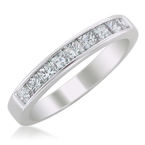 14k White Gold Princess-Cut Diamond Wedding Band (1cttw, H-I Color, SI2-I1 Clarity)