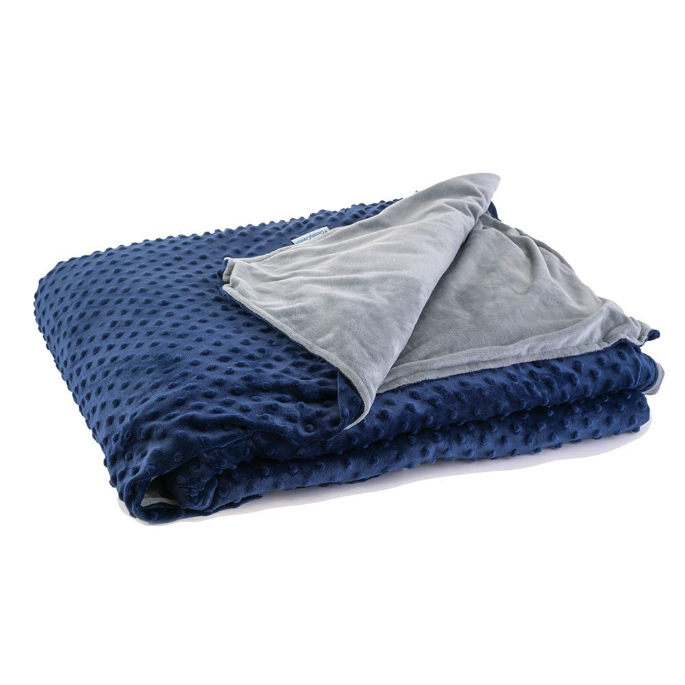 DensityComfort Weighted Blanket with Duvet Cover 5 lbs Kids (Navy Grey) | 36x48 Twin Size | 100% Certified Oeko-TEX Cotton | Grey | Glass Beads | Heavy Throw Blanket by DensityComfort