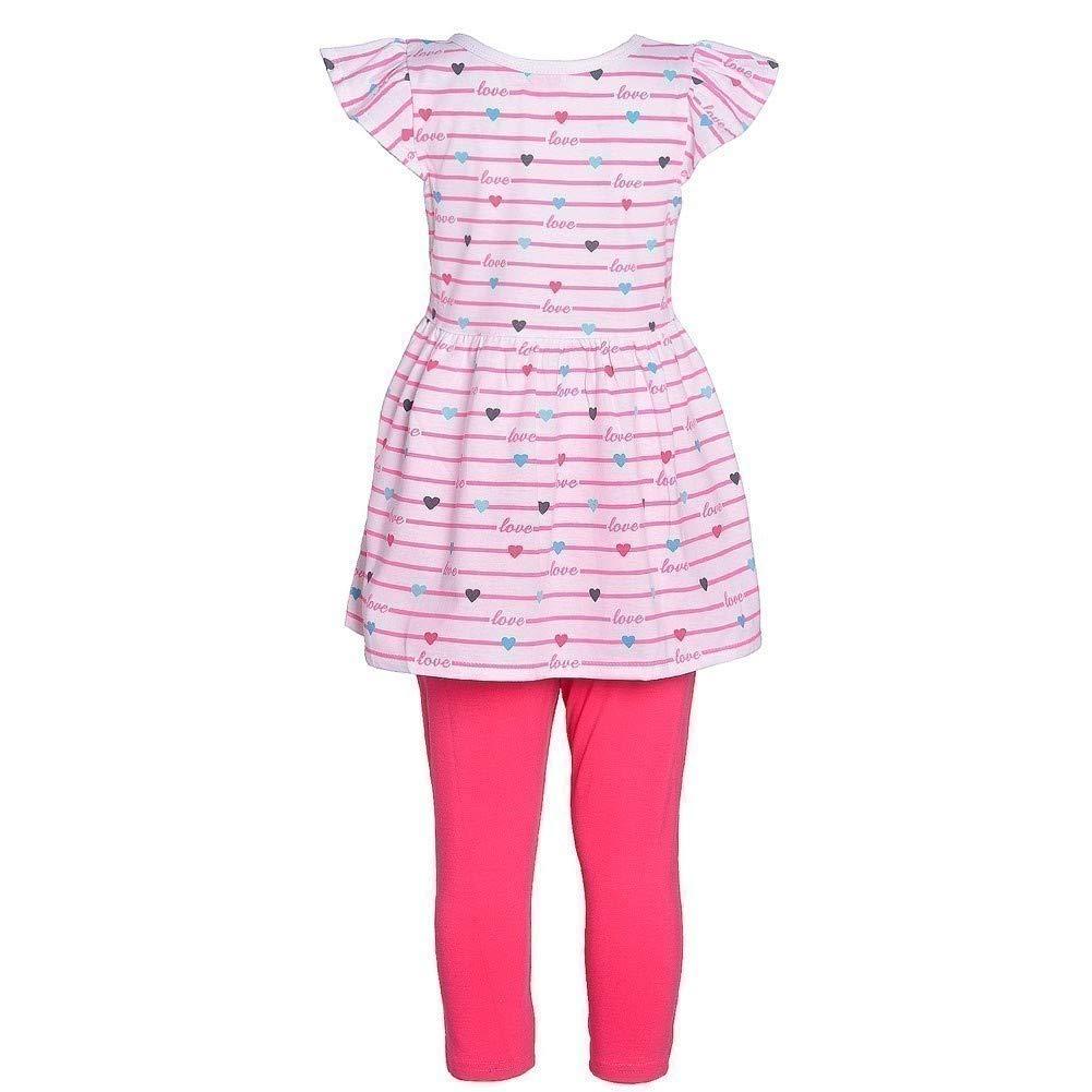 Littoe Potatoes Big Girls Neon Peach Stripe Heart Tunic 2 Pc Legging Set 7-12