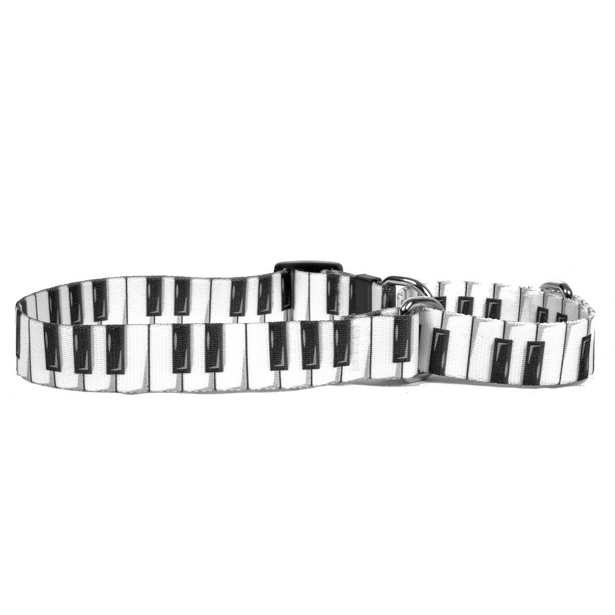 Medium 20\ Yellow Dog Design Piano Keys Martingale Dog Collar, Medium-1  Wide and fits neck sizes 14 to 20