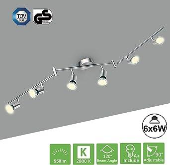 Deckenlampe in Nickel matt Spots schwenkbar 6x GU10 Deckenbeleuchtung Flur