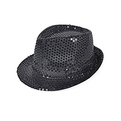 Flashing Panda LED Light-Up Sequin Fedora Hat, Black: Everything Else