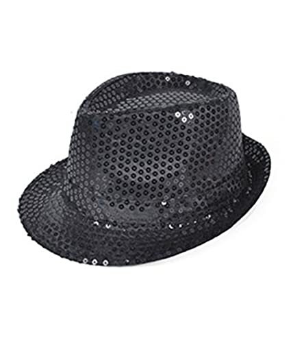 694ef3b2e00e4 Amazon.com  Flashing Panda LED Light-Up Sequin Fedora Hat