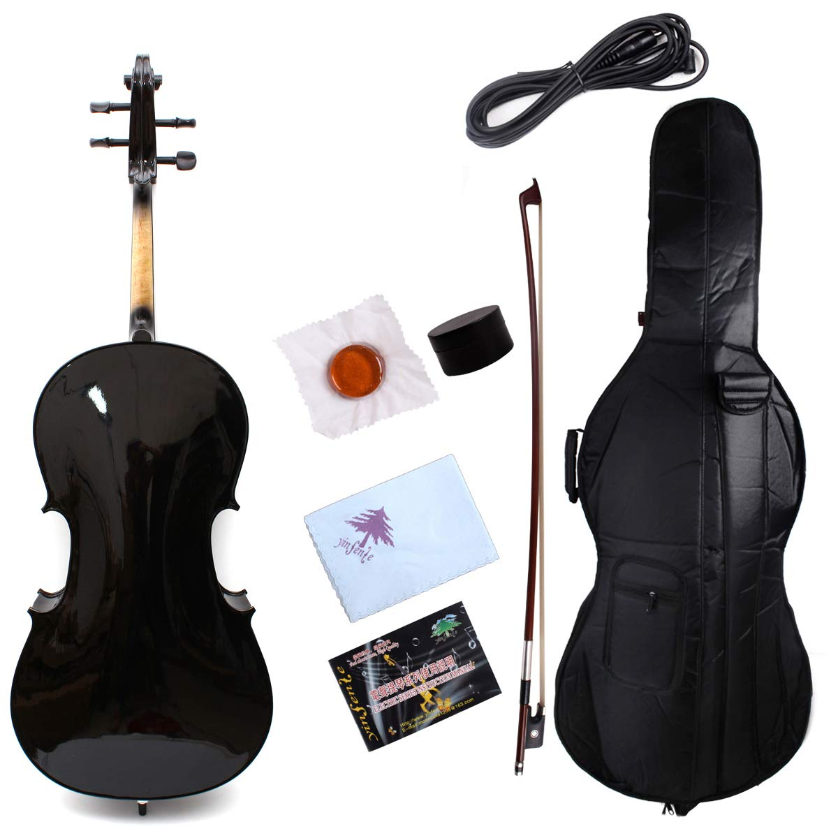 Yinfente Electric Acoustic Cello 4/4 Solid Maple Spruce wood Ebony Fittings Sweet Sound With Cello Bag Bow (Black) by yinfente