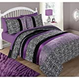 UK4 2 Piece Purple Black Animal Print Twin Comforter Set, Black White Zebra Printed Jungle Safari Zoo Themed Dark Black Bold Line All Over Geometric Printed Kids Bedding for Bedroom, Polyester