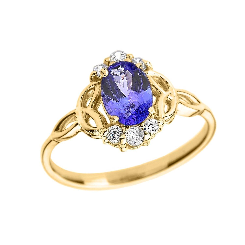 Tanzanite and Diamond 14k Yellow Gold Trinity Knot Proposal Ring