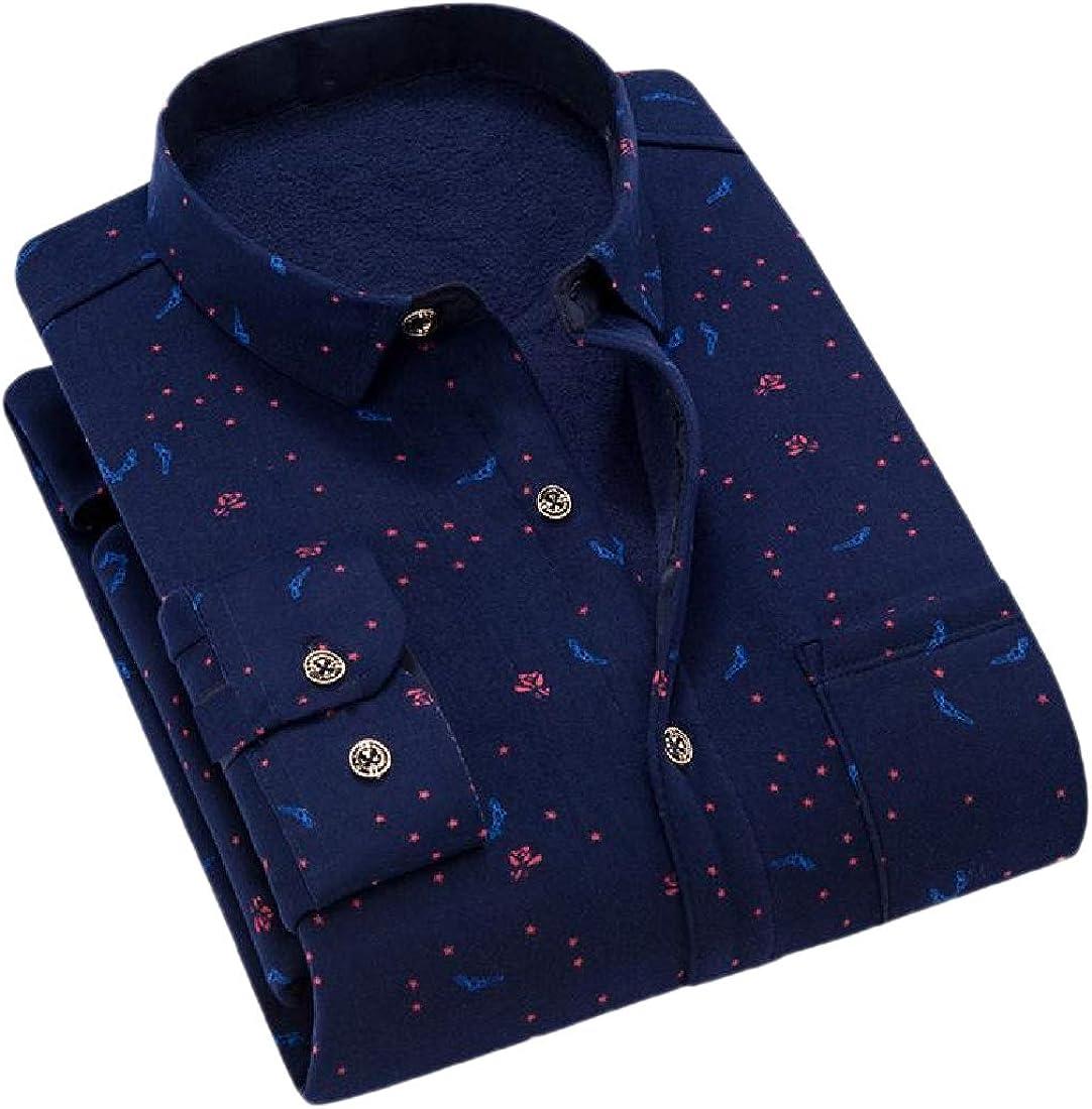 YUNY Men Long-Sleeve Brumal Floral Printed Thicken Warm Fleece Fit Shirt 4 3XL