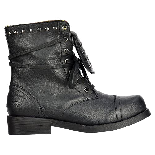 Ladies Womens Rocket Dog Brutus Fold Over Lace Up Studded Boots - Porter  Black   Tan 1f2f6d24dc