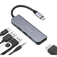 YEELIYA Usbc Hub,Usb C Multiport Adapter,Aluminum Usb Type C Hub with HDMI ,USB3.0,100W PD Charging,Headphones for Ipad…