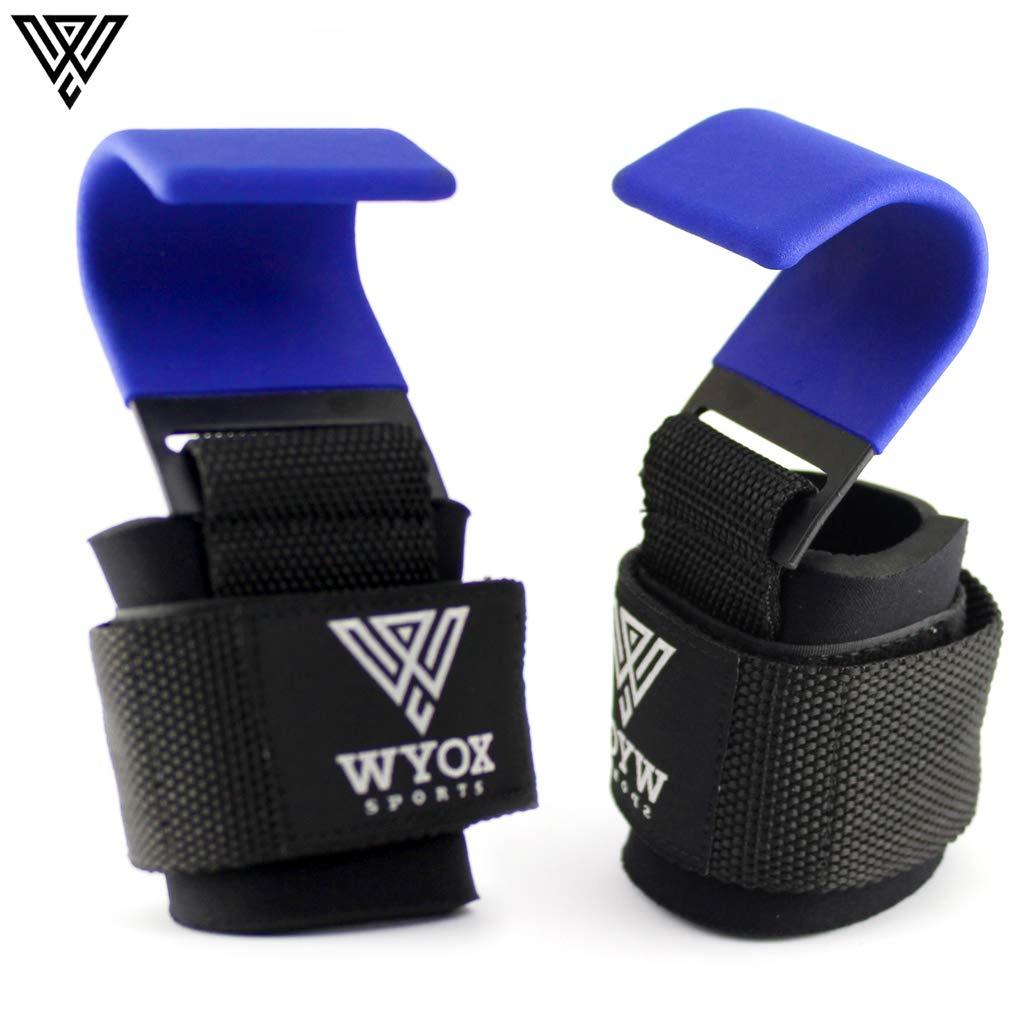 WYOX パワーウェイトリフティングトレーニングジムストラップフックバー手首サポートリフトグローブ(ブルー)   B07ML55KCY