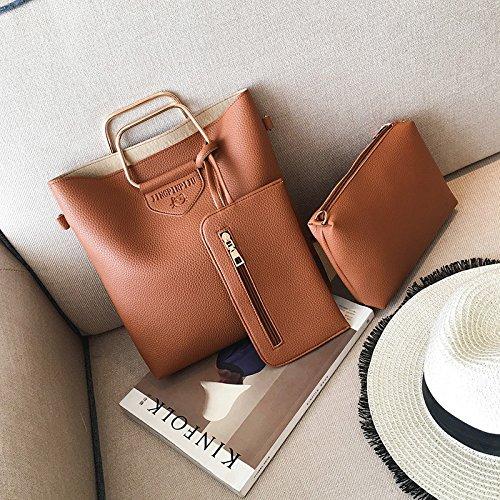 Mano hombro hombro bolsa bandolera litchi boutique patrón madre de tres piezas de mano Bolso Bolso de Hombro, marrón claro Light Brown