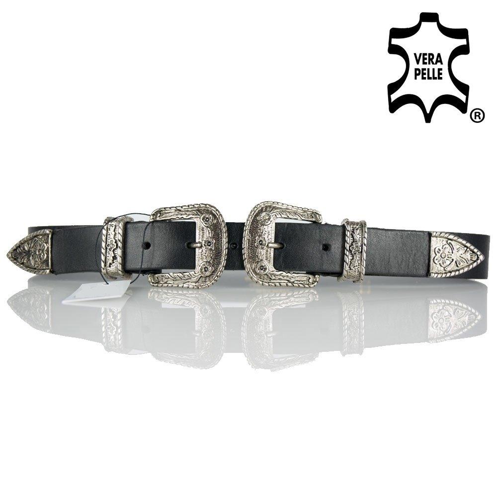 Cintura donna con doppia fibbia in vera pelle di moda tendenza fashion nera in Cuoio Emila ENE1-Nero-120/105cm