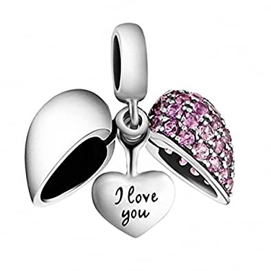 [Sponsored]I Love You - Silver Heart Crystal Charm - Sterling Silver 925 Bead - Gift boxed o29YE9w3