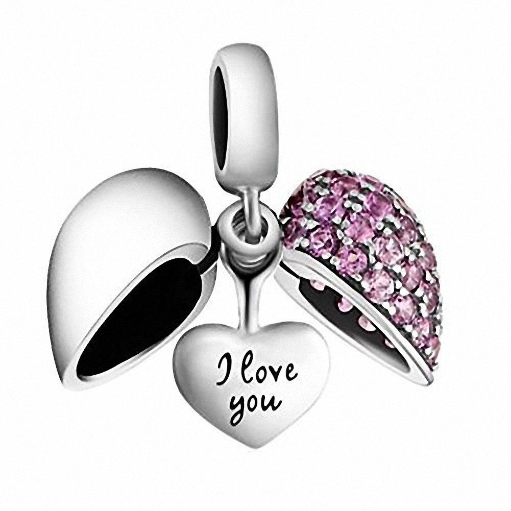 I Love You Heart Charm Bead Crystal 925 Sterling Silver for European Charms Bracelet, Xmas,Anniversary Gifts (Fushcia -1)