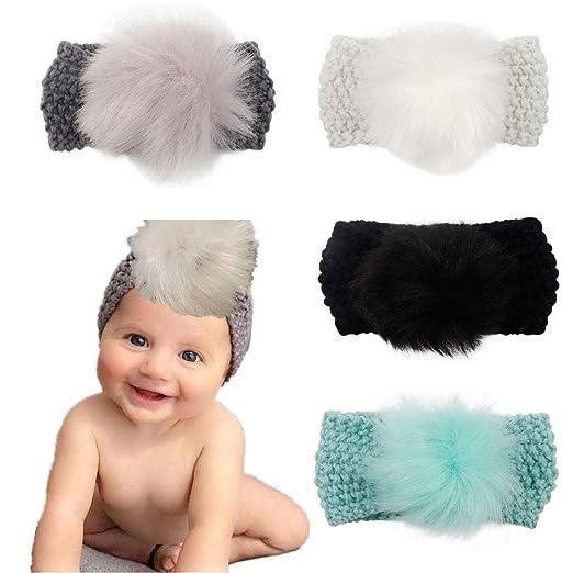 d7af461a87e Baby Knitted Woolen Ball Top Loop Turban Topknot Headband Round Bun Hair  Band