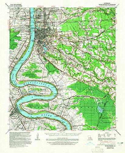 YellowMaps Baton Rouge LA topo map, 1:62500 Scale, 15 X 15 Minute, Historical, 1939, Updated 1965, 21.8 x 17.9 in - Paper
