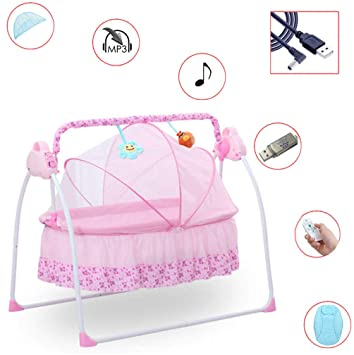 Smart Electric Baby Crib Music Cradle Infant Rocker Auto-Swing Sleep Bed Baby