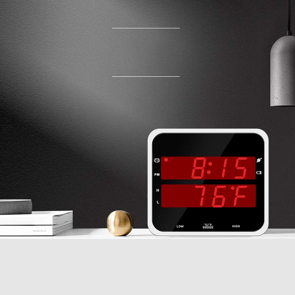 EJ13 Time Digital Clock with Temperature High Accuracy Battery Clock LED Display Night Light Big Red Digit Display for Home use