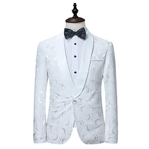 White Rose Blazer Men BrandSingle Button Shawl Collar Mens ...