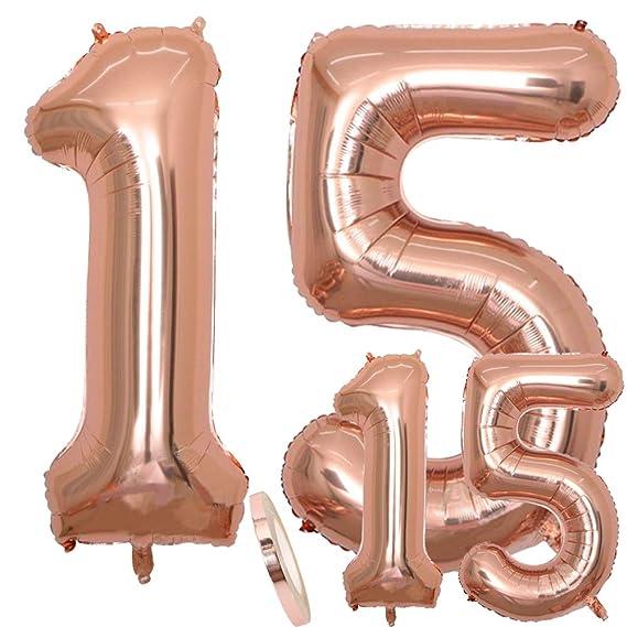 Globos con número 15 para cumpleaños XXL de oro rosa - Globo metalizado de 40 pulgadas Ideal para el 15 Años como decoración.