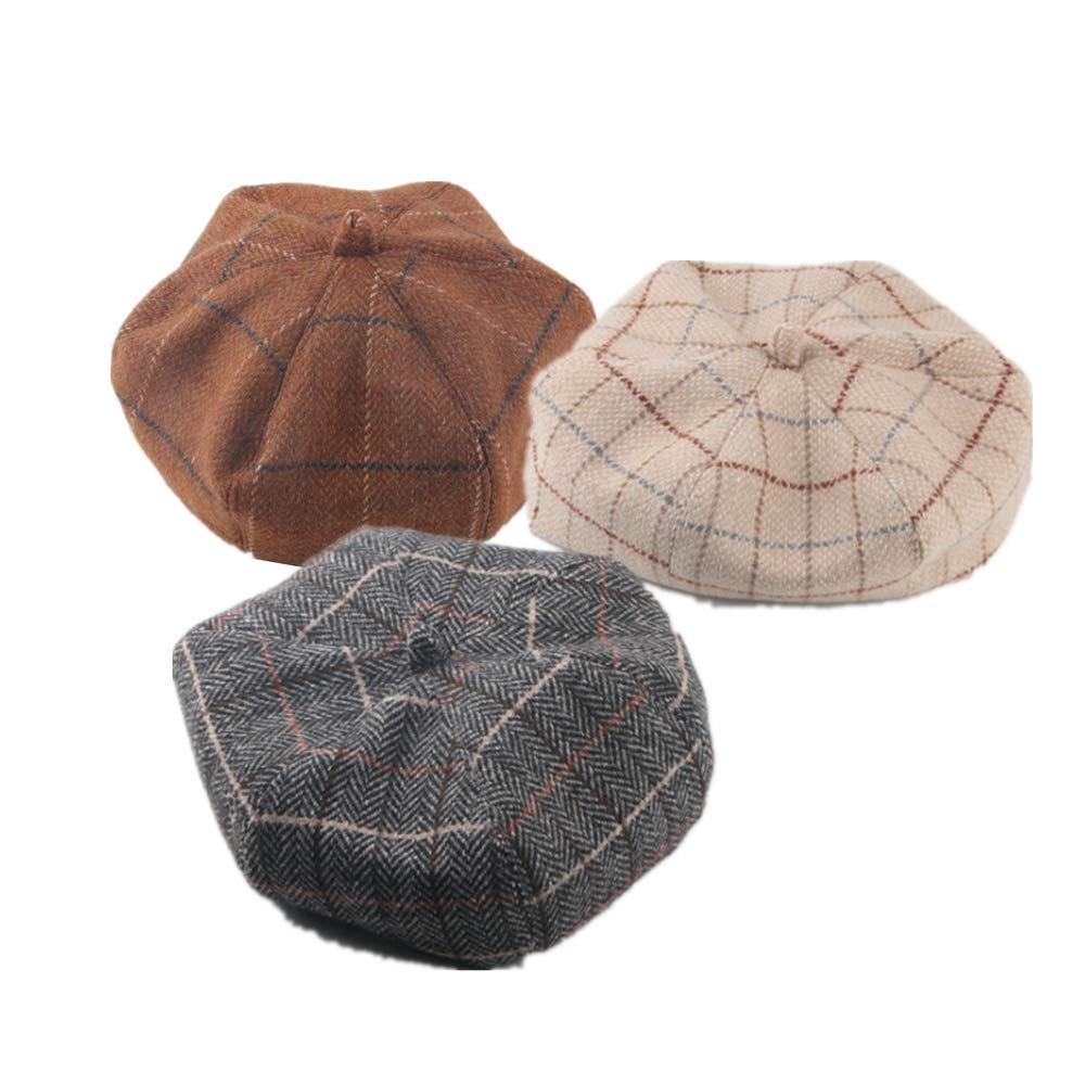 VIVICMW Ins The Same Tartan Pumpkin Hat Beret British Octagon Artist Hat