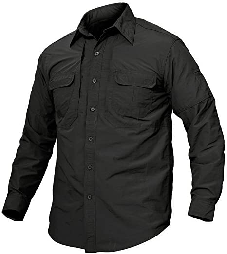 X-Future Mens Button Down Casual Long Sleeve Cargo Denim Work Shirt with Pockets
