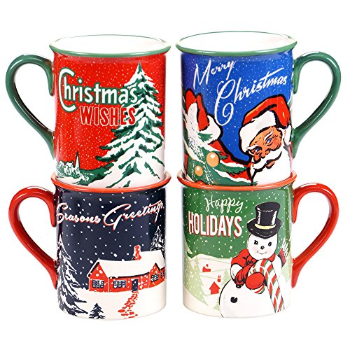 Certified International Retro Christmas Mugs (Set of 4), 16 oz, -