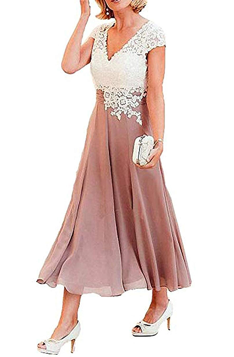 A_dusty Pink ZLQQ Women's Tea Length Mother of The Bride Dresses Short Sleeve Formal Prom Gown Pocket