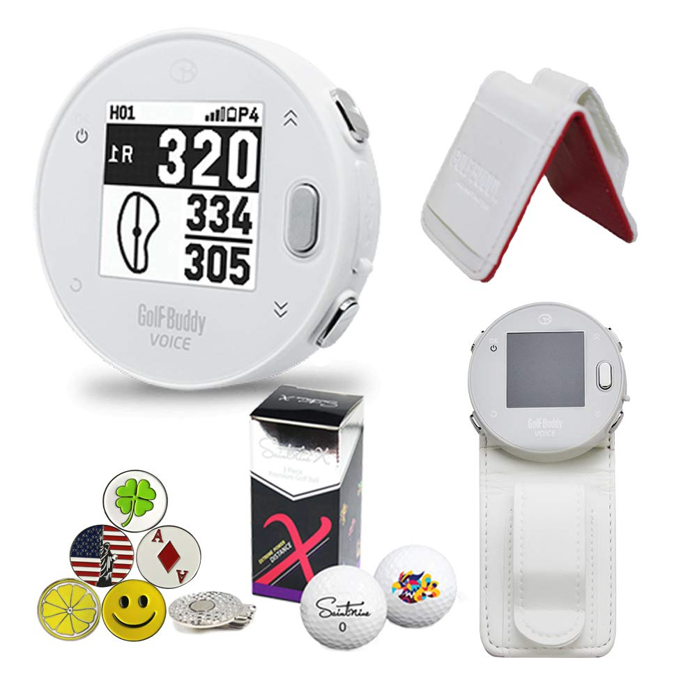 GolfBuddy Voice X GPS/Rangefinder Bundle with Belt Clip, 5 Ball Markers, 1 Magnetic Hat Clip and Saintnine 2 Ball Sleeve by AMBA7