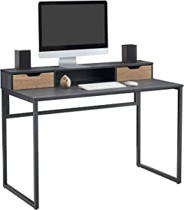 Linsy Home 47Inch Computer Desk with 2 Storage Drawers | Monitor Stand Shelf, Study Writing Table, Black, Simple StyleLS212V1-A