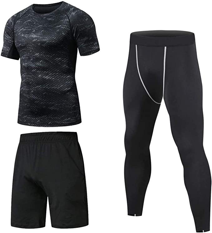 Niksa 3 Pcs Mens Gym Running Clothes Set Compression Gym Wear Fitness Clothing Set